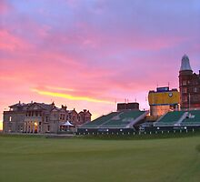 Sunrise on the Old Course 18th by Gregor  Burns