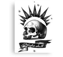 Misfit Skull White Canvas Print