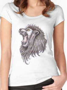 Lion roar big mouth Women's Fitted Scoop T-Shirt