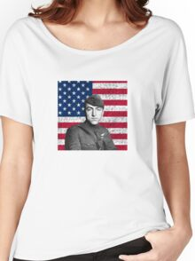 Eddie Rickenbacker And The American Flag Women's Relaxed Fit T-Shirt