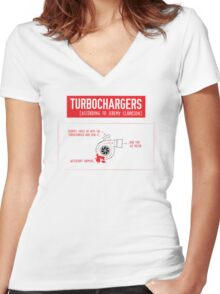 How Turbochargers work: by Jeremy Clarkson (red version) Women's Fitted V-Neck T-Shirt