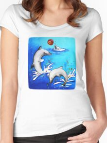 Dolphins splashing  Women's Fitted Scoop T-Shirt