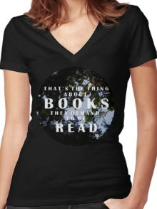 The Thing About Books Women's Fitted V-Neck T-Shirt