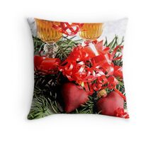 Two fluted wineglasses  stand amongst yew with two crimson  hearts A Throw Pillow