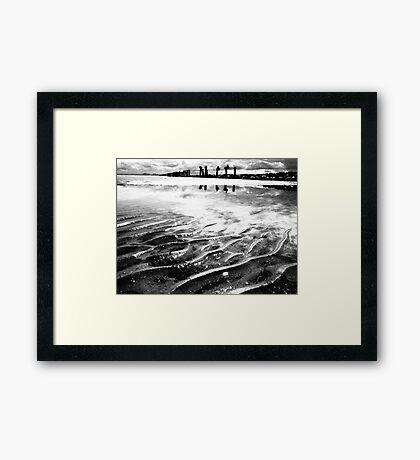 Lines in the sand (beach near geelong) Framed Print