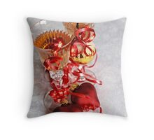 Two fluted wineglasses   with two crimson  hearts  A Throw Pillow
