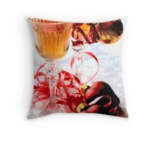 Two wineglasses with two hearts on white damask C Throw Pillow