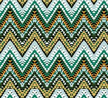Jade green chevron print by tukkki