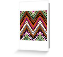 Bohemian print with chevron pattern in vintage colors Greeting Card