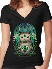 Space Bunny  Women's Fitted V-Neck T-Shirt