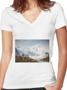 Looking at the Himalayas Women's Fitted V-Neck T-Shirt