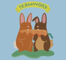 Bunny Rabbits Eating a Carrot with Teamwork Kids Clothes