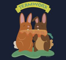 Two Bunny Rabbits Eating a Carrot as a Team Kids Clothes
