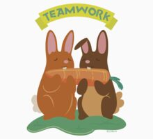 Bunny Rabbits Eating a Carrot with Teamwork Kids Tee