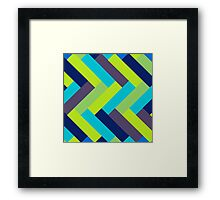 Peacock Colors Rectangle Pattern Framed Print