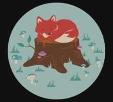 Fox Sleeping on Tree Stump in Forest Kids Clothes