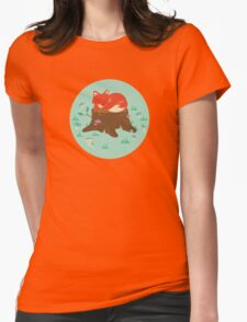 Fox Sleeping on Tree Stump in Forest Womens Fitted T-Shirt