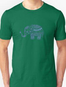 Cute Navy Blue Retro Floral Elephant T-Shirt