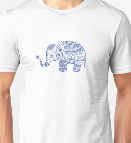 Cute Navy Blue Retro Floral Elephant Unisex T-Shirt