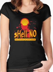 SHELL NO - Tell Shell to get Out of Puget Sound Women's Fitted Scoop T-Shirt