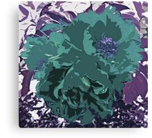 Unique Trio Of Flowers Abstract in Purple and Teal Blue  Canvas Print