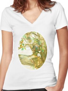 Peaceful Link Women's Fitted V-Neck T-Shirt