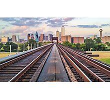 Downtown Dallas Train Track View Photographic Print