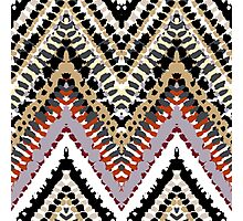 Bohemian print with chevron pattern in retro colors Photographic Print