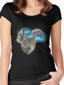 Wolves Moon 2 Women's Fitted Scoop T-Shirt