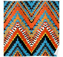 Bohemian print with chevron pattern in red blue colors Poster