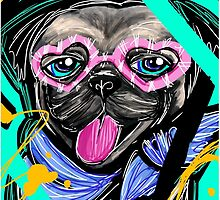 Cute Pug with Heart Shaped Glasses by Inspired2Cre8
