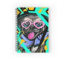 Cute Pug with Heart Shaped Glasses Spiral Notebook