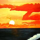 Sunset over the California Coastline - Orange County Orange Sunset Acrylic Painting by Rick Short