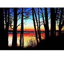 Charlie Lake Sunset Silhouette Photographic Print