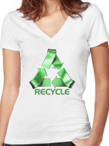 3d Recycle Design Women's Fitted V-Neck T-Shirt