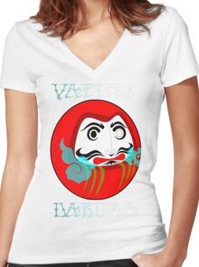 vaping daruma Women's Fitted V-Neck T-Shirt