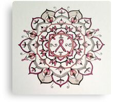 Pink Ribbon Mandala Metal Print