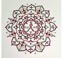 Pink Ribbon Mandala Photographic Print