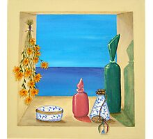 Ocean View & Perfume Bottles Photographic Print
