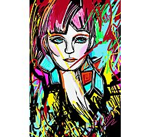 Abstract Colorful Red Head Girl Photographic Print