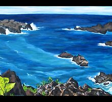 """Waianapanapa Black Sand Beach, Maui.""  by amyglasscockart"