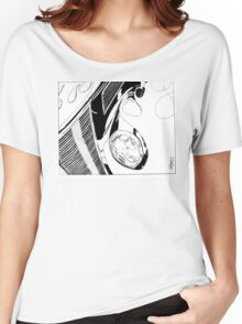 1937 Ford Coupe Hotrod with Flames - Pen and Ink Women's Relaxed Fit T-Shirt