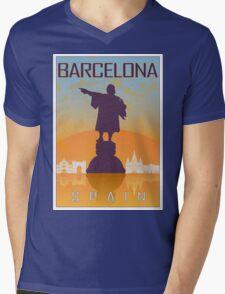 Barcelona vintage poster Mens V-Neck T-Shirt