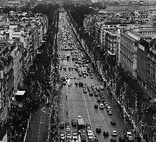Champs Elysées - winter traffic by Georgina Morrison