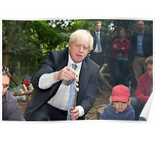 London Mayor Boris Johnson toasts dough during his visit to new kids' adventure centre in Bexley Poster