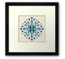 Watercolor Lotus Mandala in Teal & Salmon Pink Framed Print