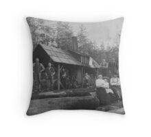 Logging Camp Formal Portrait Throw Pillow