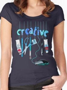Connected Creative in Blue Women's Fitted Scoop T-Shirt