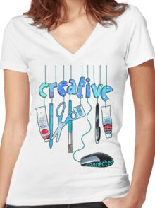 Connected Creative in Blue Women's Fitted V-Neck T-Shirt