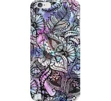Purple blue watercolor floral hand drawn pattern iPhone Case/Skin